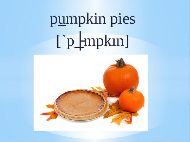 pumpkin pies [`pʌmpkın]
