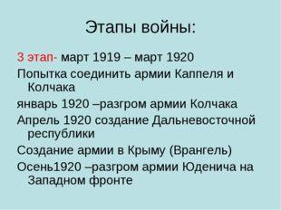Этапы войны: 3 этап- март 1919 – март 1920 Попытка соединить армии Каппеля и