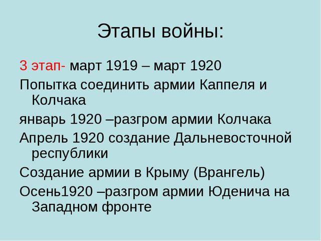 Этапы войны: 3 этап- март 1919 – март 1920 Попытка соединить армии Каппеля и...