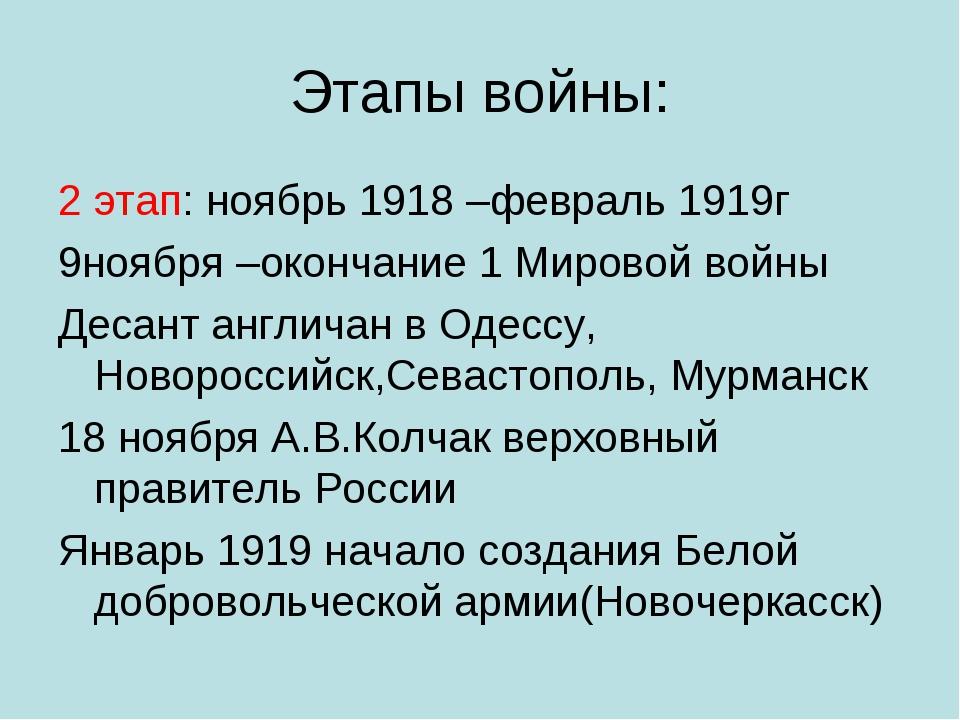 Этапы войны: 2 этап: ноябрь 1918 –февраль 1919г 9ноября –окончание 1 Мировой...