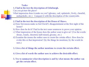Tasks: 1. Find in the text the description of Edinburgh. Can you pict