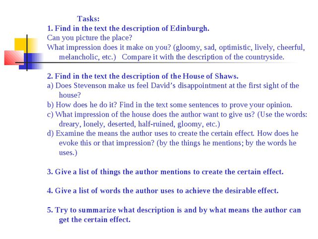 Tasks: 1. Find in the text the description of Edinburgh. Can you pict...