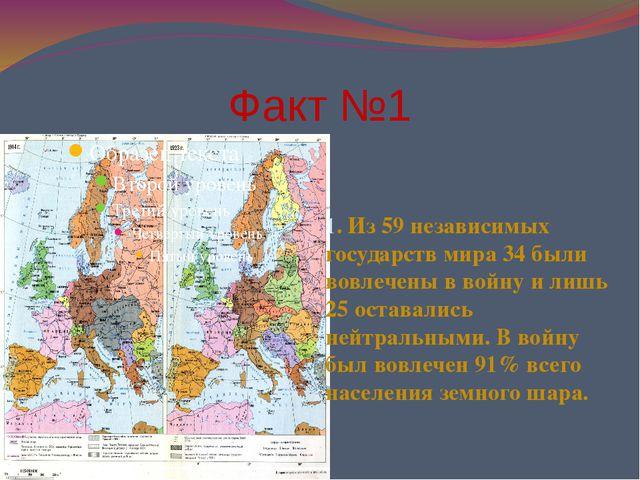 Факт №1 1. Из 59 независимых государств мира 34 были вовлечены в войну и лишь...