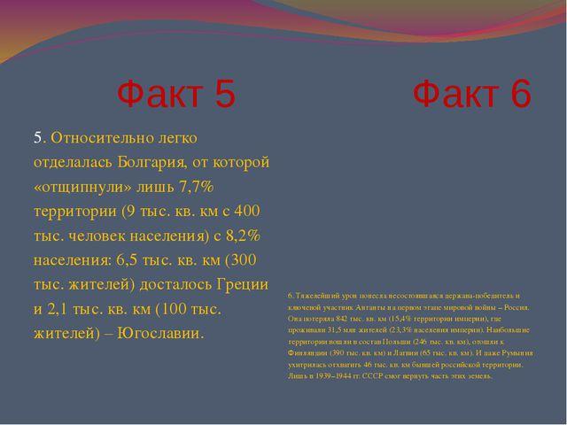 Факт 5 Факт 6 5. Относительно легко отделалась Болгария, от которой «отщипну...