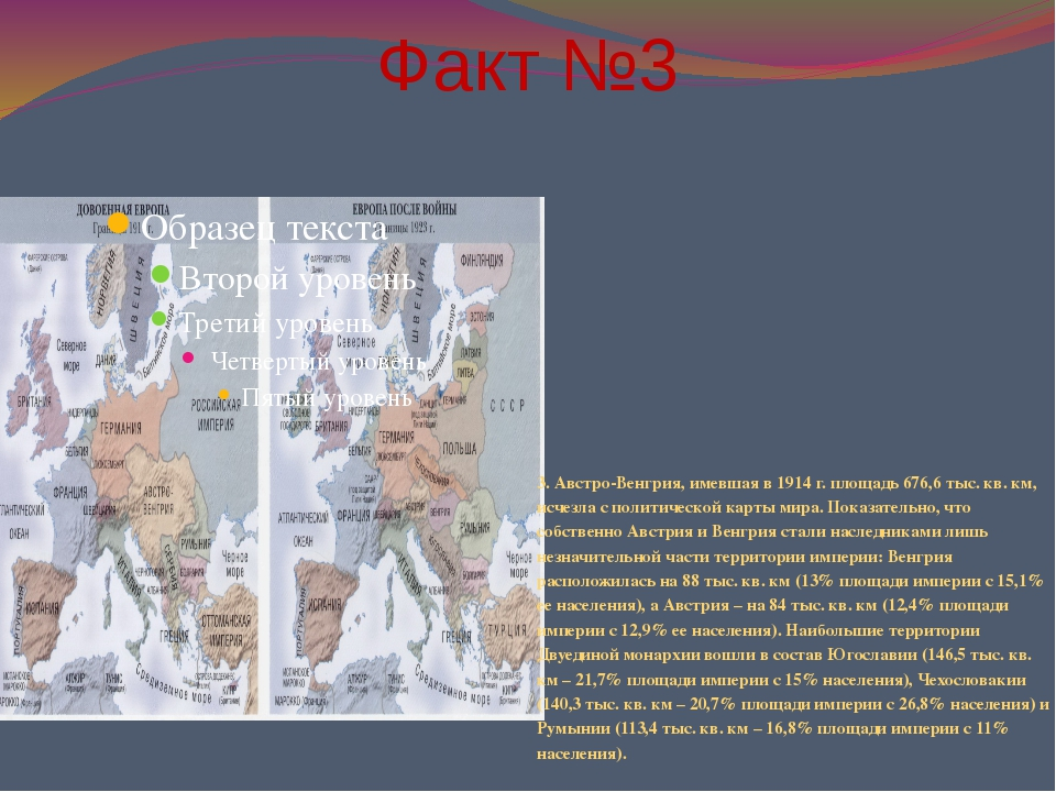 Факт №3 3. Австро-Венгрия, имевшая в 1914 г. площадь 676,6 тыс. кв. км, исчез...