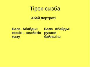 Тірек-сызба Абай портреті Бала Абайдың кескін – келбетін жазуБала Абайдың ру