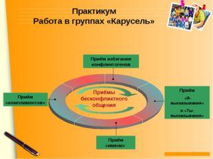 Практикум Работа в группах «Карусель» Приём избегания конфликтогенов Приём «Я
