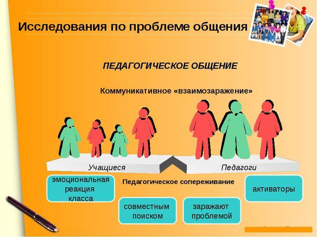 Исследования по проблеме общения Педагоги Учащиеся Коммуникативное «взаимозар...