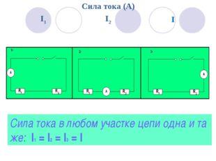 Сила тока в любом участке цепи одна и та же: I1 = I2 = I3 = I