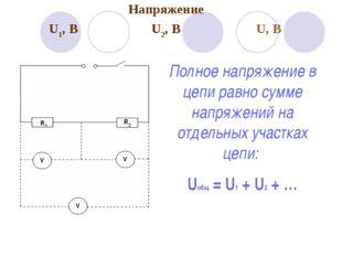 Полное напряжение в цепи равно сумме напряжений на отдельных участках цепи: U