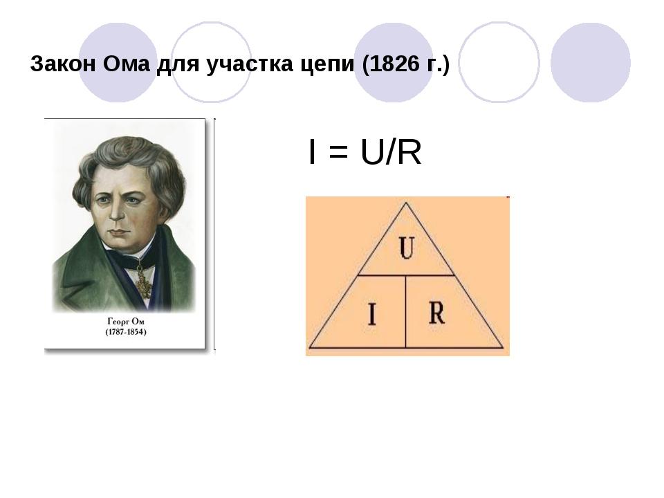 Закон Ома для участка цепи (1826 г.) I = U/R
