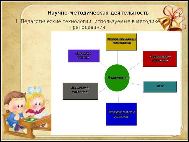 Научно-методическая деятельность 1. Педагогические технологии, используемые в...