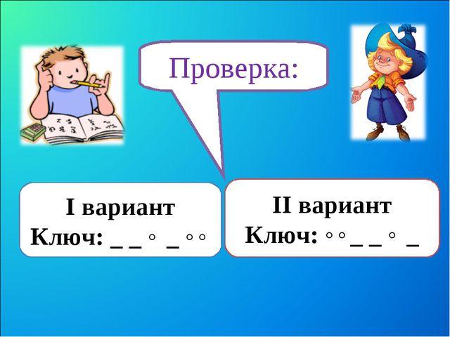 Проверка: I вариант Ключ: _ _ ˄ _ ˄˄ II вариант Ключ: ˄˄_ _ ˄ _