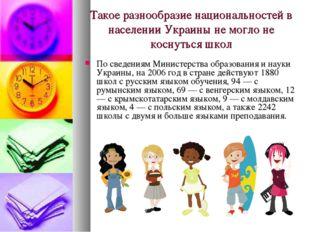 Такое разнообразие национальностей в населении Украины не могло не коснуться