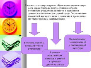 В процессе поликультурного образования значительную роль играют методы диагно