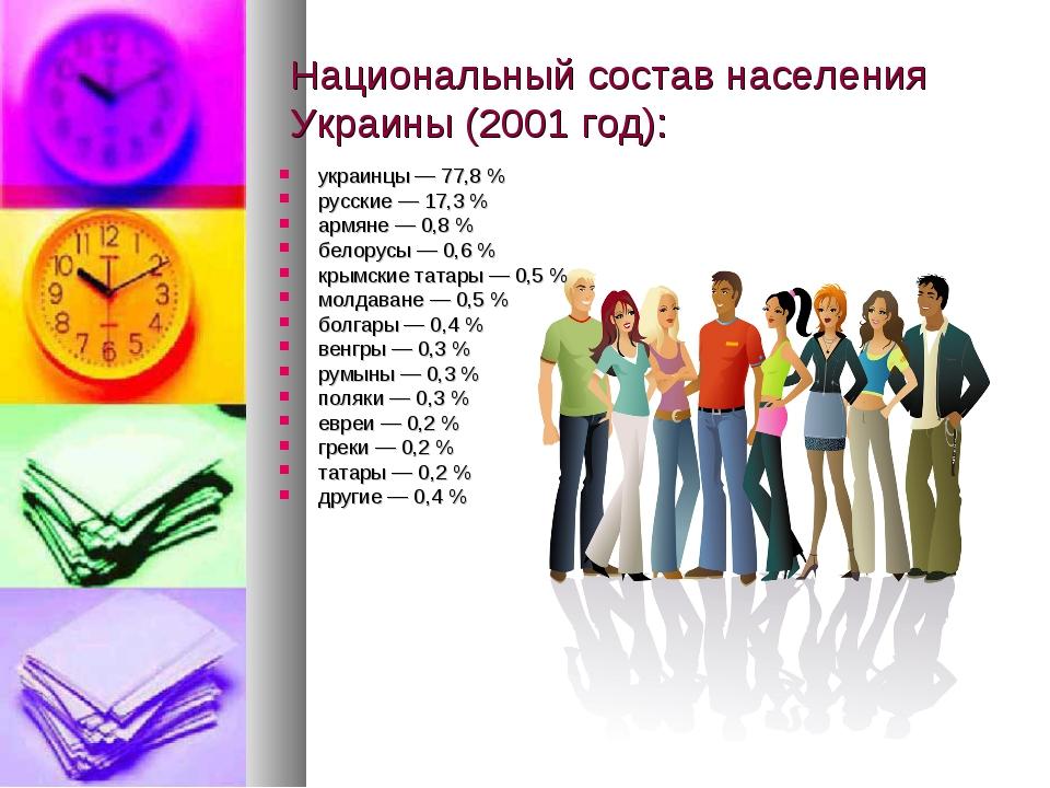 Национальный состав населения Украины (2001 год): украинцы — 77,8 % русские —...