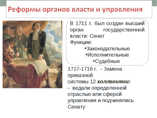 В 1711 г. был создан высший орган государственной власти: Сенат Функции: Зак...
