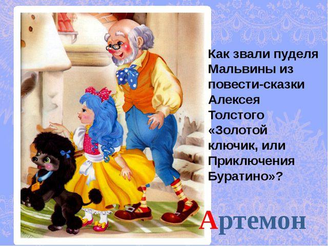 Артемон Как звали пуделя Мальвины из повести-сказки Алексея Толстого «Золотой...