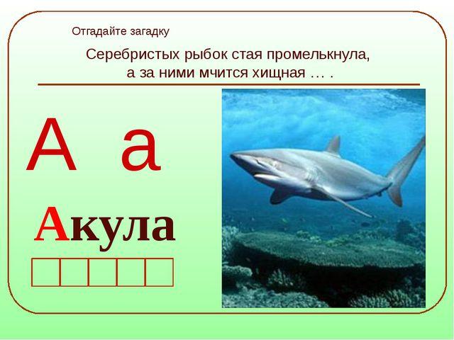 Серебристых рыбок стая промелькнула, а за ними мчится хищная … . А а Отгадайт...