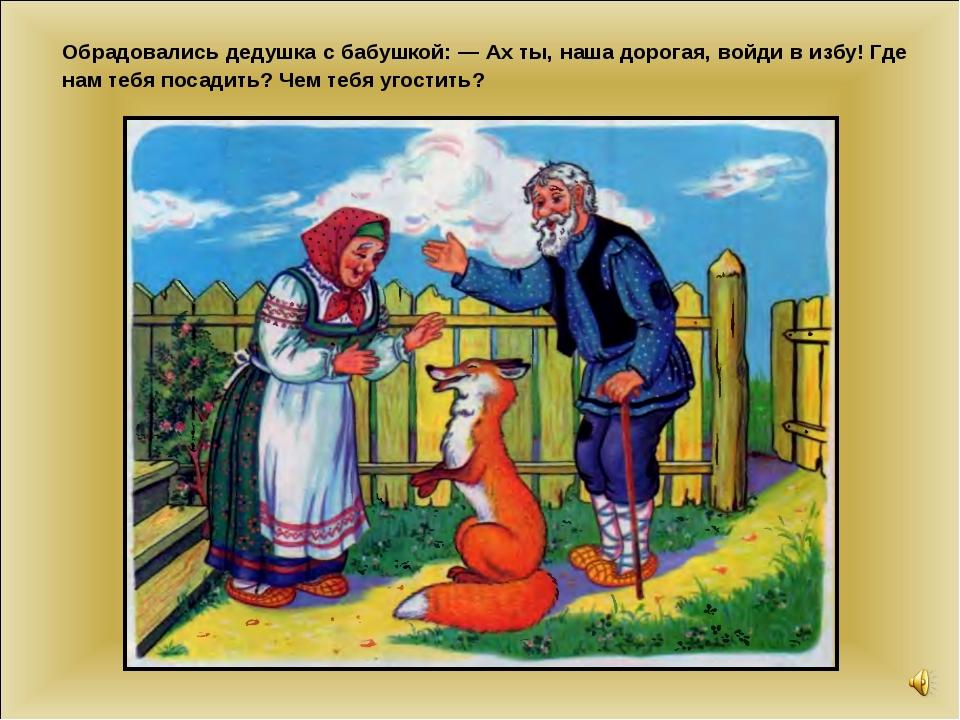 Обрадовались дедушка с бабушкой: — Ах ты, наша дорогая, войди в избу! Где нам...