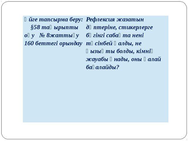 Үйге тапсырма беру: §58 тақырыпты оқу № 8жаттығу 160 беттегі орындау Рефлекс...