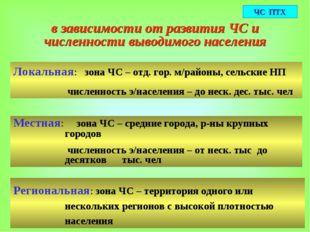 в зависимости от развития ЧС и численности выводимого населения Локальная: зо