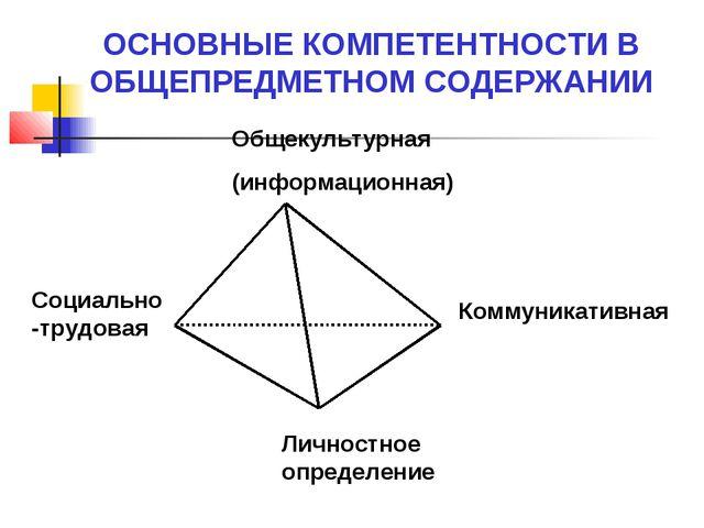Общекультурная (информационная) Социально-трудовая Коммуникативная Личностное...