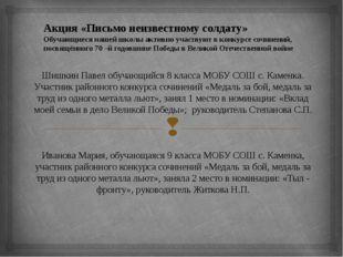 Шишкин Павел обучающийся 8 класса МОБУ СОШ с. Каменка. Участник районного ко