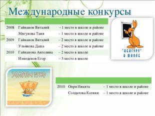 Международные конкурсы  2008Гайнанов Виталий  - 1 место в школе и районе