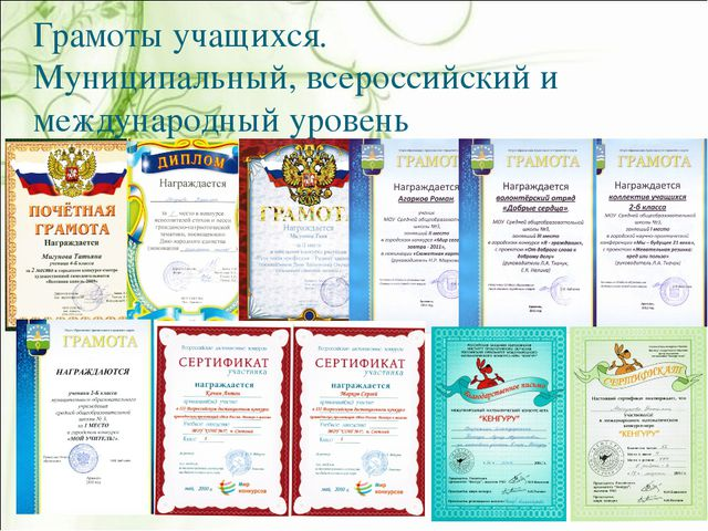 Грамоты учащихся. Муниципальный, всероссийский и международный уровень
