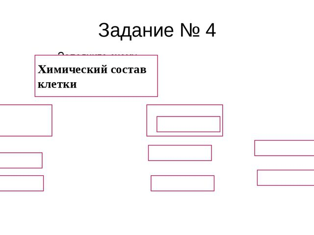 Заполните схему Химический состав клетки Задание № 4