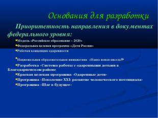 Основания для разработки Приоритетность направления в документах федерального
