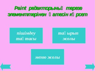 Paint редакторының терезе элементтерінен қатесін көрсет пішімдеу тақтасы тақы