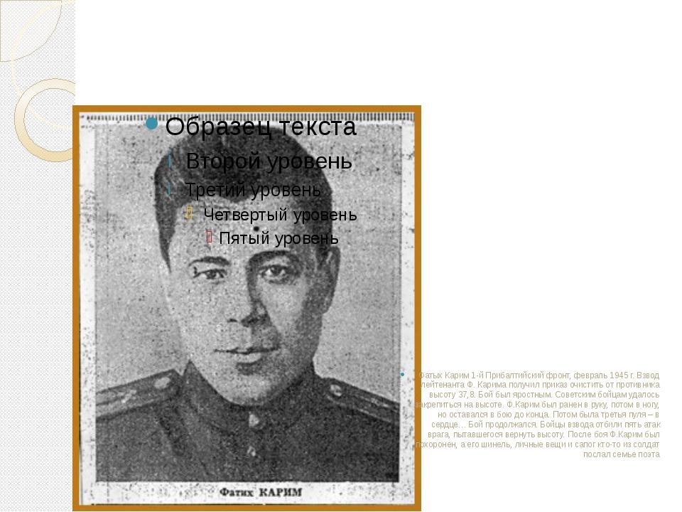 Фатых Карим 1-й Прибалтийский фронт, февраль 1945 г. Взвод лейтенанта Ф. Кари...