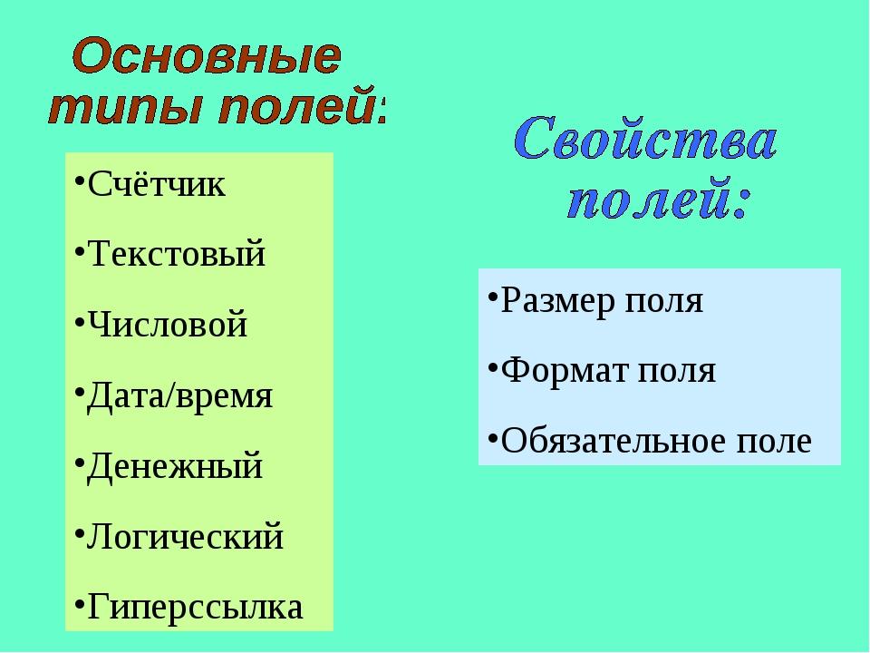 Счётчик Текстовый Числовой Дата/время Денежный Логический Гиперссылка Размер...