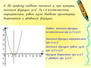 4. По графику найдите значения х, при которых значения функции у=х2 - 5х + 6