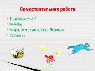 Тетрадь с.36 з.7. Семена Ветра, птиц, насекомых. Человека. Растения. Самостоя