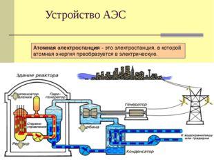 Устройство АЭС Атомная электростанция - это электростанция, в которой атомная
