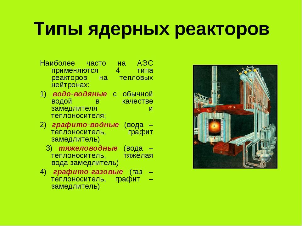 Типы ядерных реакторов Наиболее часто на АЭС применяются 4 типа реакторов на...