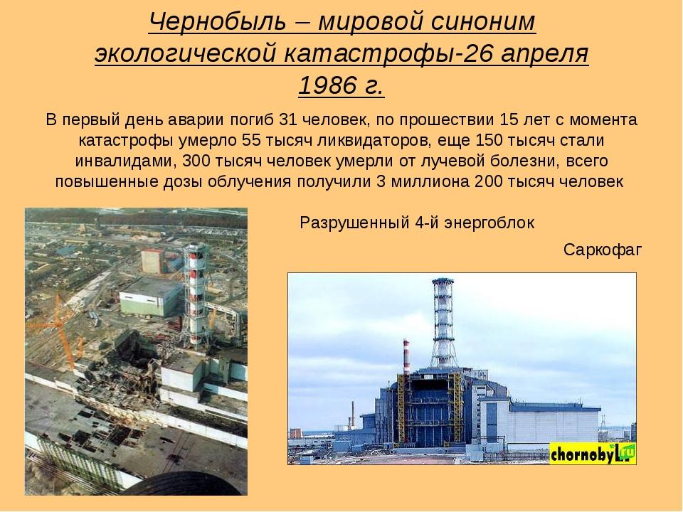 Чернобыль – мировой синоним экологической катастрофы-26 апреля 1986 г. Разруш...