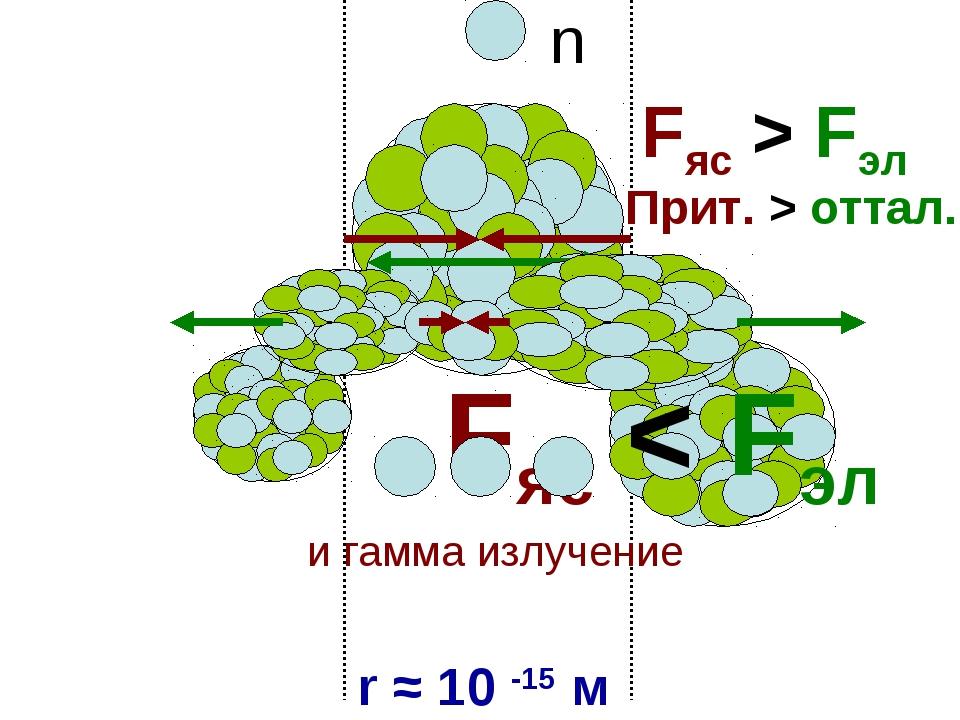 Fяс > Fэл Прит. > оттал. r ≈ 10 -15 м Fяс < Fэл n и гамма излучение