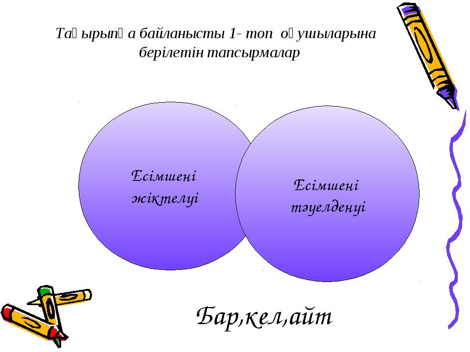 Бар,кел,айт Есімшенің тәуелденуі Есімшенің жіктелуі Тақырыпқа байланысты 1- т...