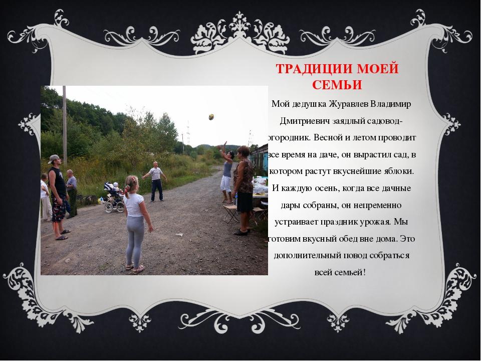 ТРАДИЦИИ МОЕЙ СЕМЬИ Мой дедушка Журавлев Владимир Дмитриевич заядлый садовод-...