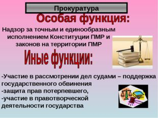Прокуратура Надзор за точным и единообразным исполнением Конституции ПМР и за