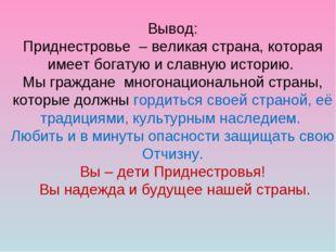 Вывод: Приднестровье – великая страна, которая имеет богатую и славную истори