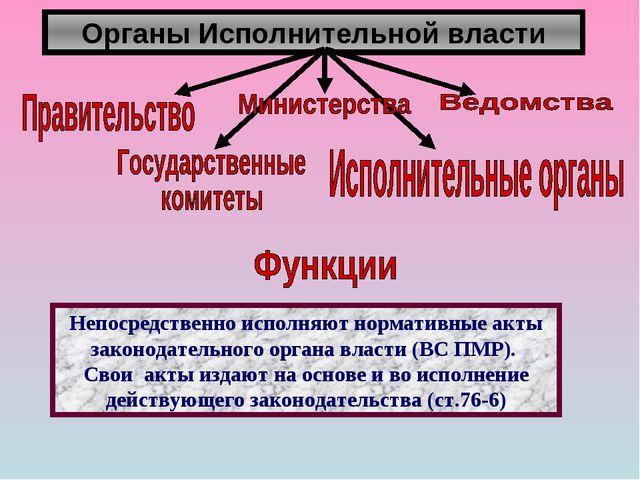 Органы Исполнительной власти Непосредственно исполняют нормативные акты закон...