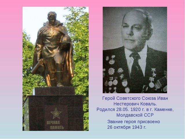 Герой Советского Союза Иван Нестерович Коваль. Родился 28.05. 1920 г. в г. Ка...