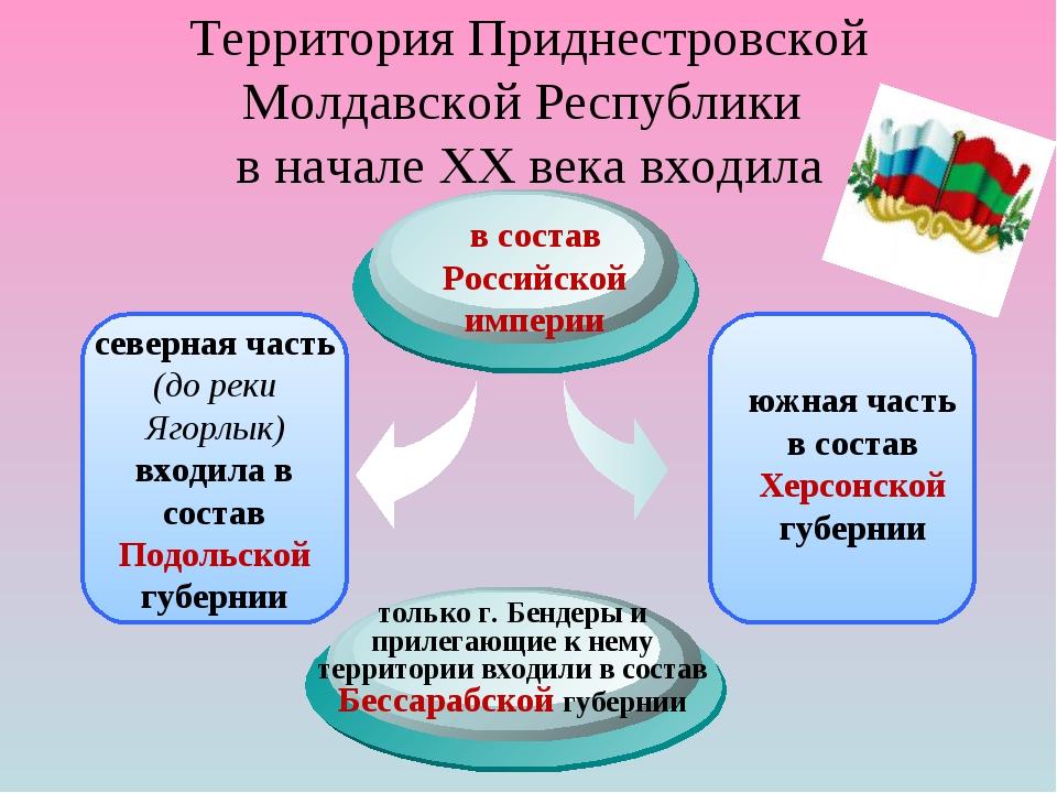 Территория Приднестровской Молдавской Республики в начале XX века входила сев...