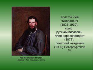 Толстой Лев Николаевич (1828-1910), граф, русский писатель, член-корреспонден