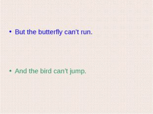But the butterfly can't run. And the bird can't jump.